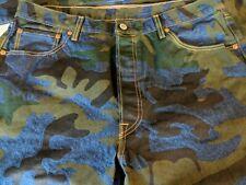 Unique Levi's 501 36x29 Indigo Camo-Blue  shrink to fit jeans  button fly