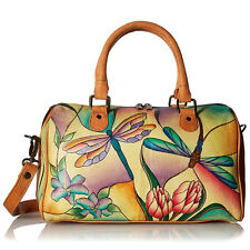 Anuschka Leather Satchel Handbag Hand Painted Anna Art  Dragonfly Glass Painting