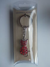 Diamante Cat Keyring - Red