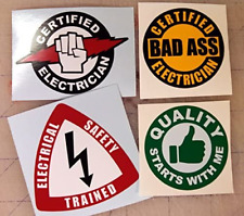 4x Electrician Hard Hat Stickers Helmet Decals Electrical Label Lunch Tool