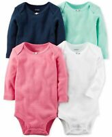 Carters Baby Girls 4-Pk Cotton Bodysuits Set Long Sleeve Baby Clothes New