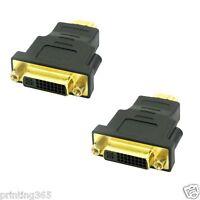 HDMI zu DVI-I (24+5) Adapter   HDMI Stecker auf DVI Buchse   Kontakte Vergoldet
