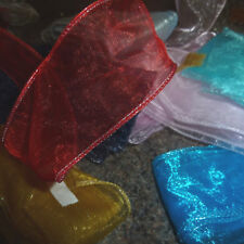 Organza ribbon mixed lot of Crafting Offcuts wire edged at least 10m random