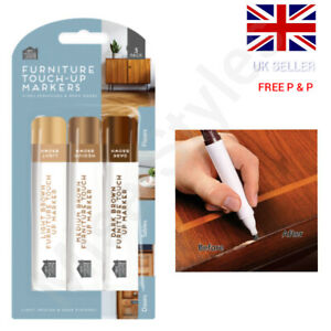 3 X FURNITURE TOUCH UP PEN MARKER REPAIR KIT SCRATCH REMOVER LAMINATE WOOD FLOOR