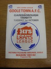 01/10/1991 Goole ciudad V Gainsborough Trinity. fútbol Progs/bobfrankandelvis Off