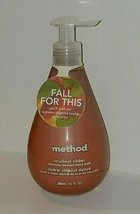 Method MULLED CIDER Fall Apple Cinnamon & Clove Scented HAND WASH Soap 12 oz NEW