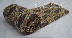 New Indian Cotton Kantha Quilt Hand Block Print Blanket Coverlet Twin Bedspread