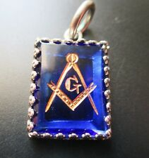 Lovely  blue Masonic watch Fob/pendant  with sterling silver setting and bale.