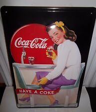 COCA COLA/COKE DINER LADY: EMBOSSED (3D) METAL  ADVERTISING SIGN 30X20cm kitchen