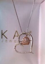 Kay Jewelers heart 10k Rose Gold & Sterling diamond of rhythm Pendant Necklace
