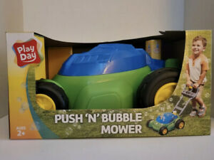 Play Day Push N Bubble Mower Lawn Toy Kids Pretend Play Yard Outdoor Outside NEW