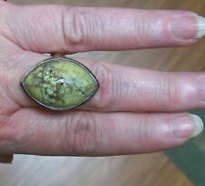 NMIB Madagascar Green Oval Opal Ring with Border 925 Sterling Silver/Copper #9