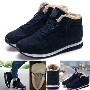 Plus Size Winter Warm Men's Plush High Top Casual Snow Boots Lace Up Shoes