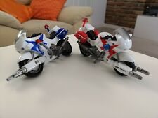 2 Power Rangers SPD Red And Blue Ranger Patrol Cycles 2004 Bandai Motorcycles
