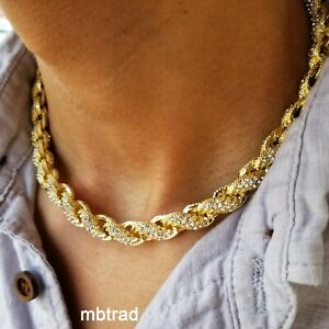 Mens Rope Chain Necklace Bracelet 10mm Iced Lab Diamond Hip Hop Set Gold Silver