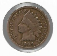 USA Rare Very Old Antique 1909 US Indian Head Penny Cent Collection Coin Lot i44