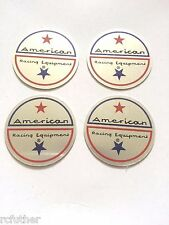 "SET OF 4 AMERICAN RACING VINTAGE WHEEL RIM CENTER CAP STICKER DECAL 1.75"" / 44mm"