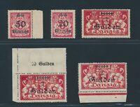 DANZIG 1923, ex Mi. 183-90 *, 4 Plattenfehler!! Teils gepr. BPP!