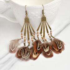 1Pair Womens Boho Feather Beads Long Tassel Dangle Ear Hook Handmade Earrings