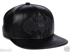 Batman DC Comics Leather Snapback Adjustable Hat Cap All Black Dark Knight
