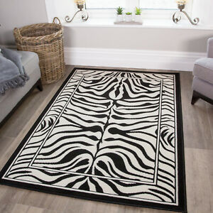 Traditional Black White Zebra Print Living Room Rugs Affordable Small Large Rugs