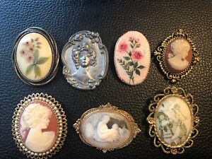 Vintage CAMEO Lady Flower Resin Brooch Pin Clip Lot Avon 1928