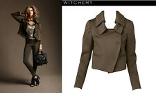 WITCHERY Khaki Melton Wool Double Collar Crop Trench Coat Jacket 6 $249.99