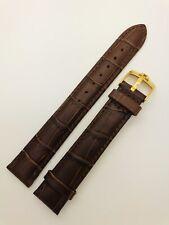18mm Omega marrón genuino cuero reloj Correa con Hebilla De Pin de oro.