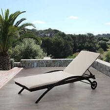 Chaise longue Kastoria, polyrotin, bain de soleil ~ marron chiné, coussin crème