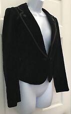 White House Black Market Black Velour Blazer Jacket SZ 4 Professional Career