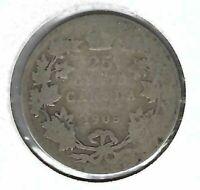 1905 Canada Silver Circulated Edward VII Twenty Five Cent coin!