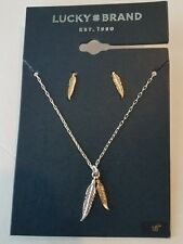 NWT Lucky Brand Gold & Silver Leaf Earrings & 18 in. Necklace **SHIPS FREE* NEW