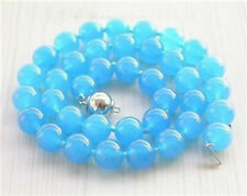 """Nice 10mm Rare Blue South America Topaz Round Beads Necklace 18"""" AAA"""