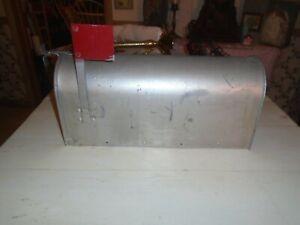 Vintage Montgomery Wards Galvanized Metal Post Mailbox w/ Flag