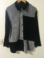 Erika Velour & Terry Towling Patchwork Relaxed Fit Blouse Top Size 1xl