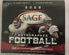 2008 Sage Autographed Factory Sealed Football Hobby Box 12 Autographs