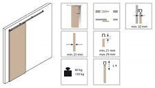 Sistema scorrevole per porte in legno Koblenz 0500/80/120 con binario da 2 metri