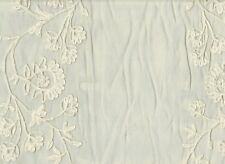 """Embroidered Organdy  Sheer Beige Floral Drapery Fabric W-43"""" by Roth Fabric RT80"""