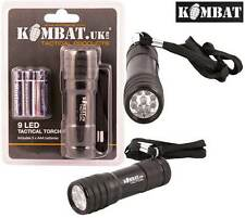 Combat Tactical Military Camping 9 LED Metal Torch Flashlight + Batteries New