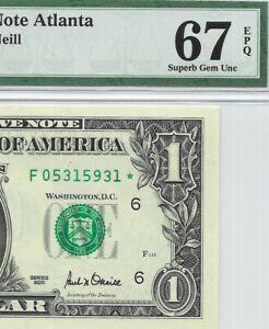 2001 $1 ATLANTA * STAR * 🌟 FRN, PMG SUPERB GEM UNCIRCULATED 67 EPQ BANKNOTE, DC