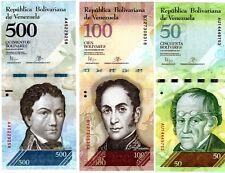 LOT SET 3 BILLETS VENEZUELA 50 & 100 & 500  BOLIVARES 2015 - 2016  UNC NEUF