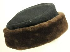 Vintage Women's Faux Fur Pillbox Hat Brown Black Fabric Liner Small S