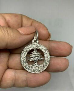 Cedar Tree Lebanon Sterling Silver Large .925 Unisex Pendant Necklace