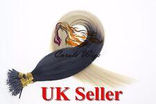 "24"" 1g 8A Nano Ring Armenian Remy Double Drawn 100% Human Hair Extensions UK"