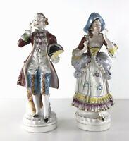 Vintage Porcelain Victorian Figurines Man & Woman Couple Colonial with Gold Trim
