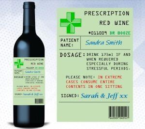 Personalised Prescription Wine Bottle Label Gift Funny Novelty Birthday Gift