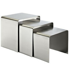 Modern Style Design Accent Coffee Side Nesting Tables in Brushed Stainless Steel