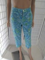 Women's Chaps Sz 4 Cotton Blend Sky Blue Paisley Print Summer Capri
