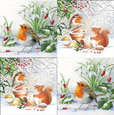 4 x Single Paper Napkins/3 Ply/Decoupage/Craft/Christmas/Robin Mix