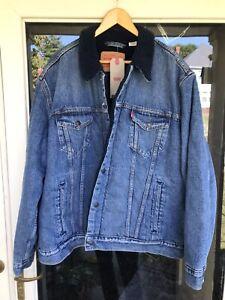 LEVI STRAUSS & Co Sherpa Fleece Lined Denim Blue Jean Jacket Men's Size XXL